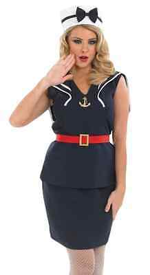 Ladies Sexy 1940s Pin Up Sailor Forces Fancy Dress Costume Outfit 8-26 Plus Size • 29.99£