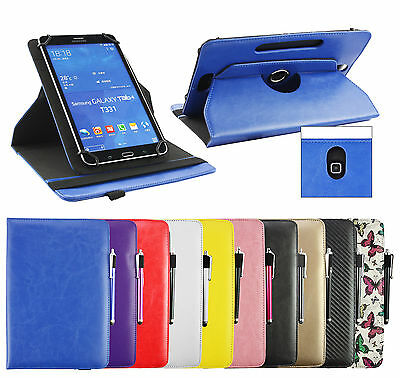 Universal Stylish (7 - 8 Inch) 360° Rotating Stand Wallet Case Cover Folio • 6.99£