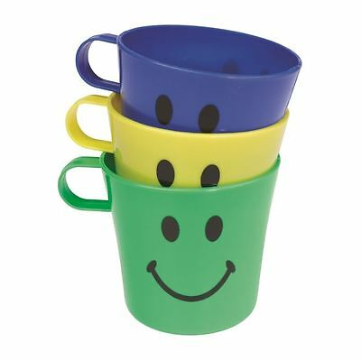 3 X Childrens Plastic Drinks Cups Mugs Party Picnic Smiley Face • 4.99£