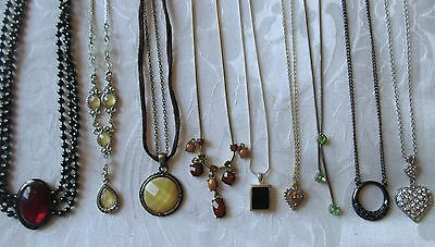 $ CDN21.29 • Buy LOT Of 9 B Rhinestone Cabochon Necklace Red, Ice,  Yellow Silver Gold Tone