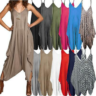 Ladies Baggy Harem Jumpsuit Romper Sleeveless All In One V-Neck Cami Playsuit • 12.99£