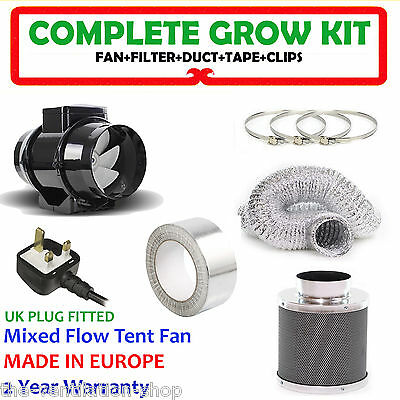 4  In Line Fan, Carbon Filter & Duct Kit - Hydroponic Grow Room Tent Ventilation • 54.99£