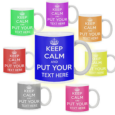 £8.99 • Buy Keep Calm And Carry On Personalised With Any Text Any Colour Gift Mug Cup Retro