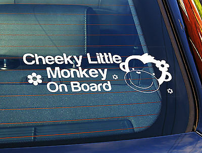 £3.99 • Buy Static Cling Window Car Sign/Decal Cheeky Little Monkey On Board Girl 10