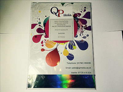 £6.20 • Buy A4 White Magnetic Photo Paper For Inkjet Printers,high Gloss, 640gsm (5 Sheets)
