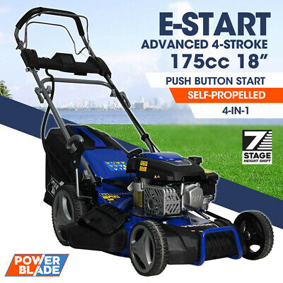 AU499 • Buy POWERBLADE Lawn Mower 18 175cc Electric Start Petrol Self-Propelled Lawnmower