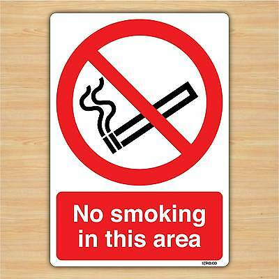 No Smoking In This Area - No Smoking Sign Vinyl Sticker (148x210mm) By Stika.co • 2.49£