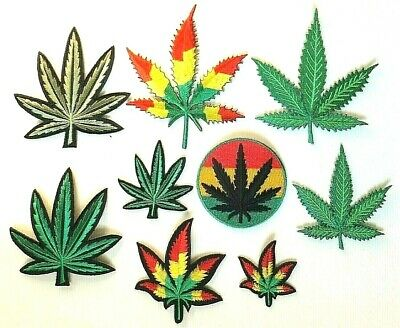 MARIJUANA LEAF PATCH, Rasta, Green *SEW-ON/IRON-ON* Embroidered Badge, Weed • 2.39£