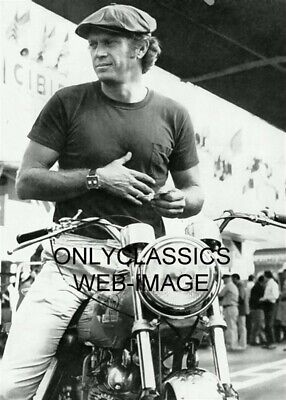 '71 King-cool Steve Mcqueen On Motorcycle Photo Wearing Lemans Auto Racing Watch • 5.56£