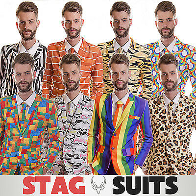 Mens Stag Do Suit Funny Loud Fancy Dress Costume, Stand Out At The Party! • 29.99£