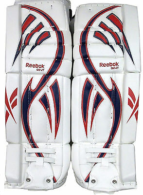 $269.99 • Buy Reebok Larceny L9 Hockey Goalie Leg Pads Intermediate 30+1 Red Blue New Goal Pad