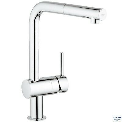 £185.95 • Buy GROHE 32168 Minta Kitchen Sink Mixer, L-shaped Pull Out Spout, Chrome, 32168000