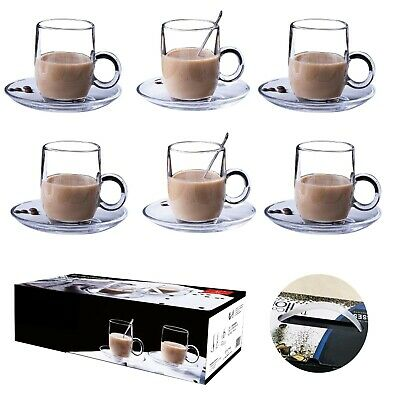 £10.95 • Buy 6 X 195ML Glasses Cups Mugs For Coffee ,Tea ,Cappuccino & More With Saucer