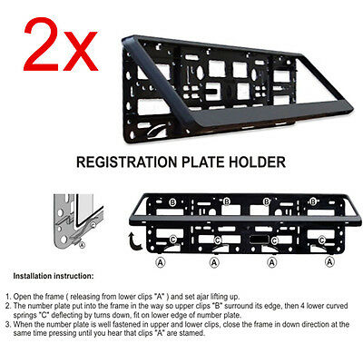 2 X Black Number Plate Surrounds Holder Mercedes C Class W202 W203 W204 W205 • 9.98£