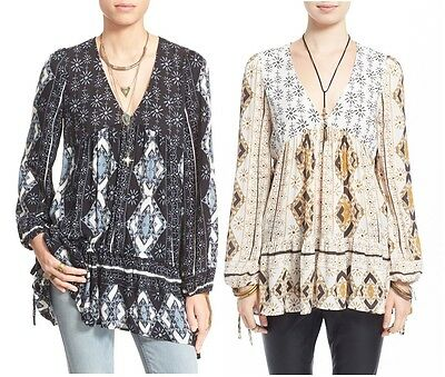 New Free People Voile The Bay Flirty Vneck Boho Chic Tunic Top Shirt  XS S M L • 75.49£
