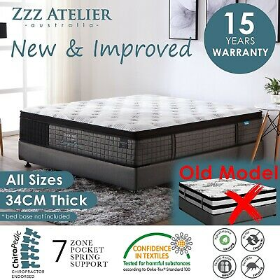 AU179 • Buy Queen Double King Single Mattress Bed Euro Top Pocket Spring Latex Chiropractic