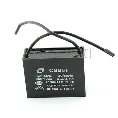 AU3.22 • Buy CBB61 AC450V 4uF Air Conditioner Electric Fan Run Start Capacitor 2-wired