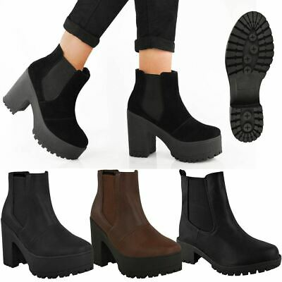 Womens Ladies Chelsea Ankle Boots Chunky Platforms Block High Heels Slip On Size • 16.99£