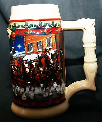 $ CDN17.76 • Buy Budweiser Beer Stein Clydesdale Horses Christmas Old Town Holiday 2003 Wagon