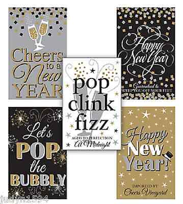 £3.53 • Buy Pack Of 5 New Year Wine Bottle Labels Party Table Decoration Stickers Year's Eve