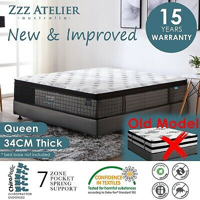 AU369 • Buy QUEEN Mattress *7 Zone Pocket Spring Mattress Latex Foam EuroTop *Chiro Endorsed