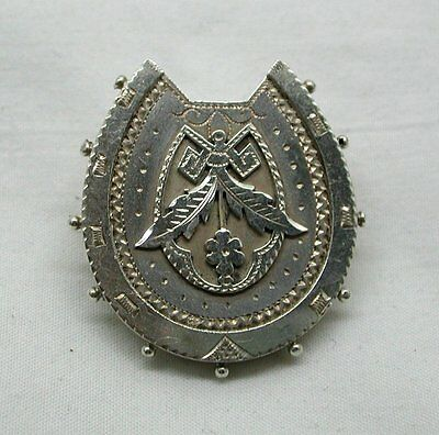Victorian Solid Silver Large Ornate Horseshoe Brooch • 53.90£