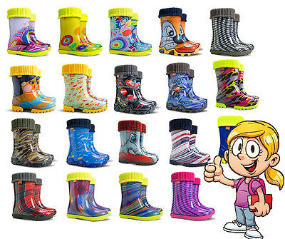 WELLIES KIDS RAIN WELLINGTON  Snow Boots Shoes Socks Children Baby Boys Girls • 9.99£