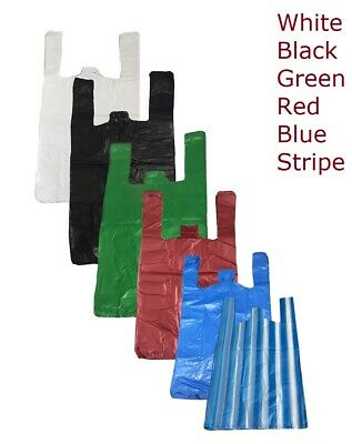 Plastic Vest Carrier Bags Blue White Black Or Green All Sizes - Supermarkets • 4.95£