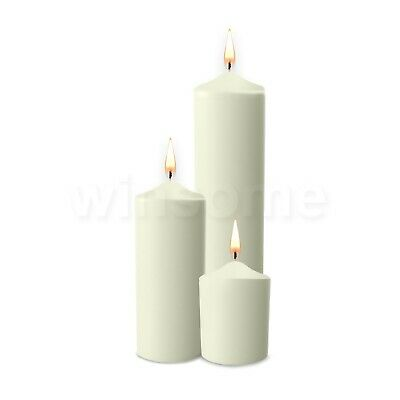 £5.99 • Buy Unscented Thick Round White Classic Church Pillar Table Candles Long Burn Time