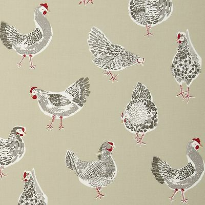 Clarke And Clarke Rooster Chicken Sage Cotton WIPE CLEAN Tablecloth Oilcloth • 6.99£