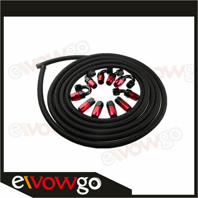 AU121.60 • Buy AU AN8 -8AN NYLON BRAIDED OIL/FUEL Hose + Fitting Hose End Adaptor Red And Black