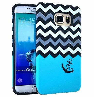 $ CDN10.60 • Buy Samsung Galaxy S6 Edge Plus - HARD GUMMY RUBBER HYBRID CASE BLUE CHEVRON ANCHOR