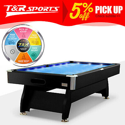 AU671.99 • Buy 15% OFF 8FT Blue Timber MDF Pool Snooker Billiard Table With LED Lighting