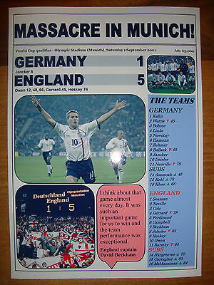 £5 • Buy Germany 1 England 5 - 2001 World Cup Qualifier - Souvenir Print