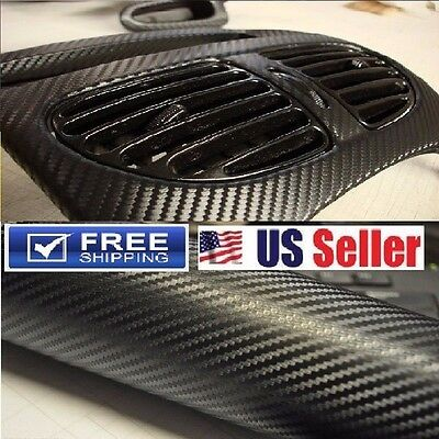 $12.30 • Buy 4D Premium Glossy Carbon Fiber Vinyl Wrap Film Sticker   BUBBLE FREE   12 X60