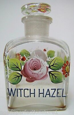 $395 • Buy Antique WITCH HAZEL Apothecary Drug Store Square Glass Bottle Hand Painted Jar