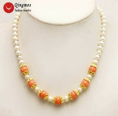 AU19.18 • Buy 6mm Round Natural White Pearl Necklace For Women & 10mm Pink Coral Necklace 17