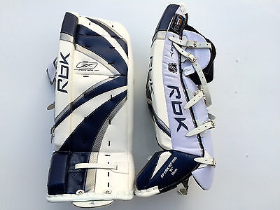 $279.99 • Buy Reebok Premier Pro Hockey Goalie Leg Pads Intermediate 31 Navy Silver New Goal
