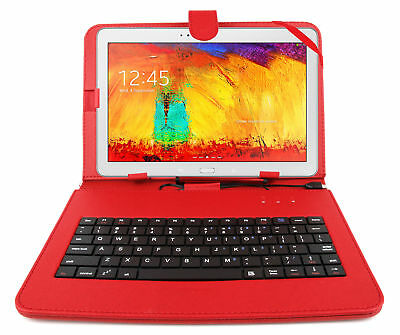Premium QWERTY Keyboard Case For Samsung Galaxy Note 10.1 2014 Edition In Red • 16.99£