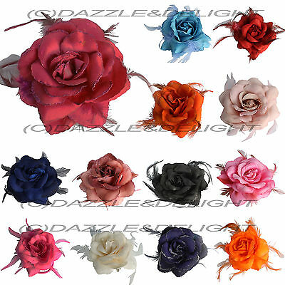 $ CDN6.47 • Buy Rose Hair Clip Large Rose Fascinator Rose Hair Accessories Clip Elastic Wedding