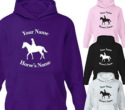 Childrens Personalised Horse Riding Hoodie Girls Pony Stable Hoody Gift • 15.75£