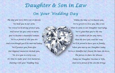 DAUGHTER & SON IN LAW GIFT- Wedding Day  (Poem Gift)  • 3.85£
