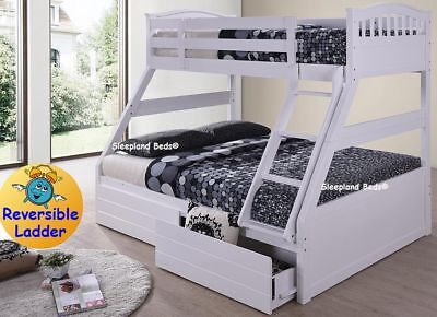 Cosmos Triple Bunk Beds WHITE Or GREY Wooden Bunk With Drawers - Double Bunks • 469£