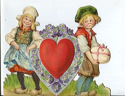 Large Germany Die Cut Dutch Boy & Girl In Wooden Shoes Pop Out  Valentine SUPERB • 54.26£
