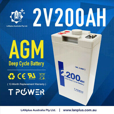 AU184.99 • Buy Brand New 2V 200AH AGM Sealed Deep Cycle Solar Battery Long Service Life 12-Year