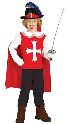 Boys Red Musketeer French Soldier Historic Book Day Fancy Dress Costume Outfit  • 16.99£