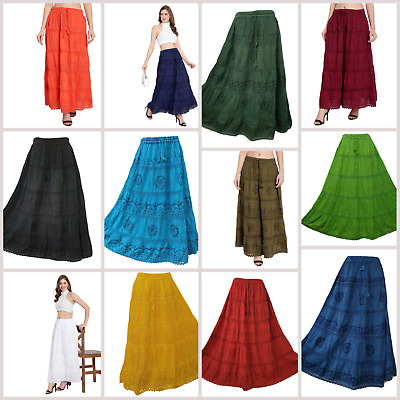 Cotton Skirt Maxi Embroidered Lace Gypsy Boho Casual Festival 10 12 14 16 18 20 • 17.99£