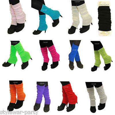 Ladies Deluxe Luxurious 80's Plain Ribbed Leg Warmers Womens Warm Accessories • 2.25£