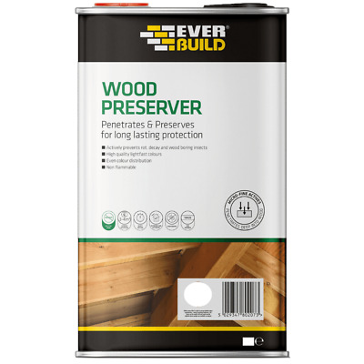 £8.75 • Buy EVERBUILD CLEAR WOOD PRESERVER PROTECTION 5 & 1 Litre Treatment LOW ODOUR