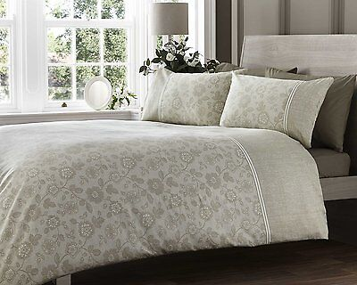 Double Bed Duvet Cover Set Lace Effect Natural 300 Thread Count Luxury Floral • 18.99£